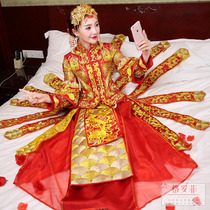 Bridal Chinese dress show 2018 new style wedding clothes and dragon gown Xiu kimono embroidery and clothing autumn
