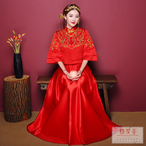 2018 New bride Chinese dress xiu wo dress bride dresses wedding gown wedding clothes and dragon gown xiu kimono embroidered wo Clothing