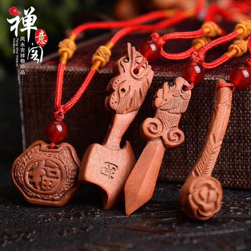 Zen Pavilion Mahogany Dragon Head Sword Axe Necklace Pendant Ruyi Flower Lock Wood Carving Pendant Carry Craft Gift