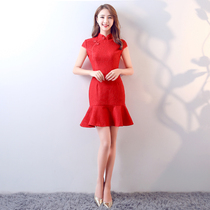 Winter show thin fish tail red Chinese toast clothing