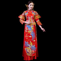 Xiuhe service bride 2018 new style dragon and Phoenix Gown Wedding Chinese wedding toast wedding dress vintage wedding dress Phoenix crown Xia Cape
