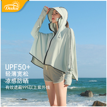 Sunscreen clothes womens 2021 summer new fashion hooded long-sleeved loose driving and riding anti-UV breathable thin sunscreen clothes