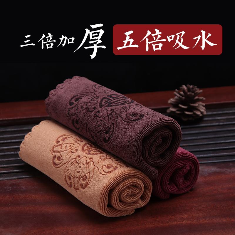 Thickened tea towel tea cloth water-absorbing printed square tea tablecloth tea plate kungfu tea set accessories special towel rag