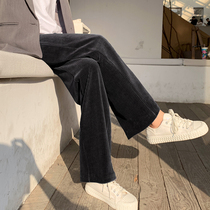 Corduroy wide leg pants womens autumn and winter cashmere high-waisted loose-fitting straight mop thickening fall casual striped velvet trousers