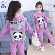 The girl's autumn / winter 2017 new large children's sport suit girl thickening three piece western style sweater