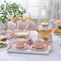 English afternoon tea set flower teacum set home European Nordic fruit teapot glass Japanese candle heating