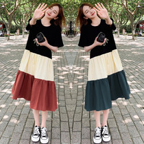 Korean t-shirt dress stitching contrast color schoolgirl loose large size fashion foreign style medium long over-the-knee skirt summer
