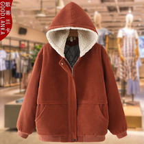 Fattening increased size female middle-aged and elderly mother cotton clothing loose hood fashion thick warm wick velvet cotton coat