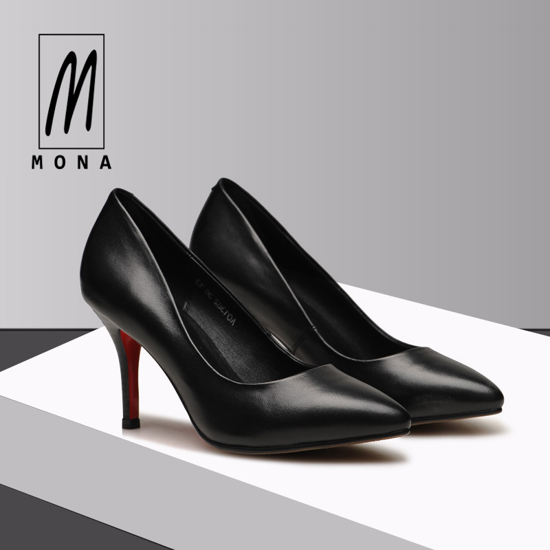 Mona's fashionable slim-heeled work shoes Women's black pointed high-heeled shoes Professional women's shoes Leather single shoes 33 small size women's shoes