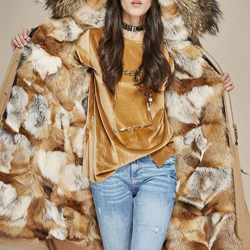 2020 new thick warm fox mule hooded coat long fur coat female middle-length young model