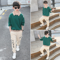 Childrens boy spring and autumn clothes set 2020 new childrens Big childrens sports two sets of foreign handsome leisure tide clothing