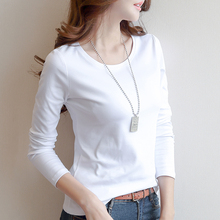 Two New Long Sleeve T-shirts for Women in Autumn of 59 Yuan and Women in Autumn of 2019: White T-shirts with round collar and Korean T-shirts