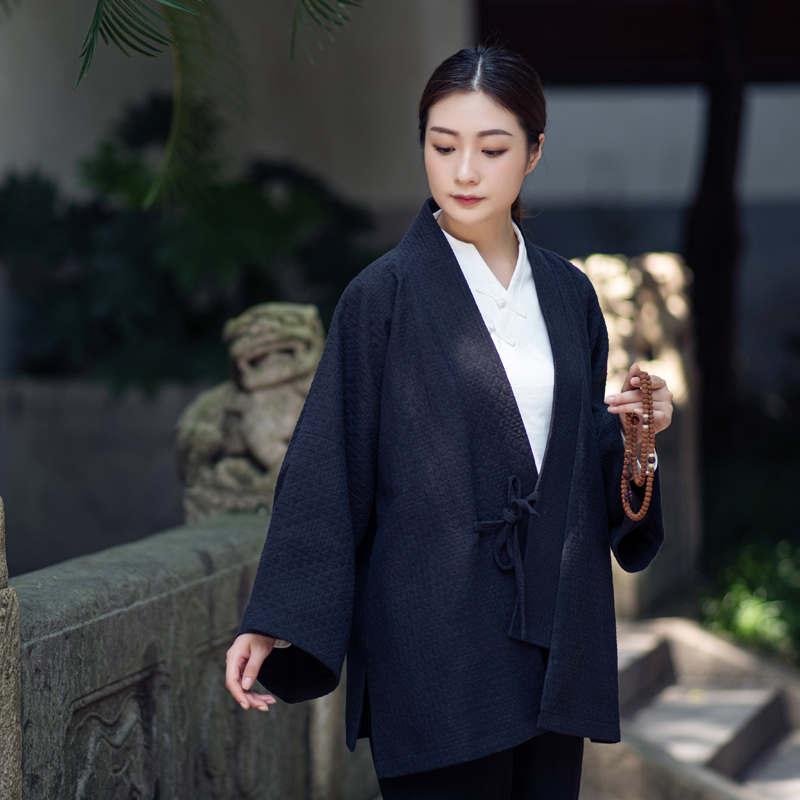 The wonderful performance hollow all hand-made cardigan jacket precious wash linen cotton road robe Japanese ancient road robe