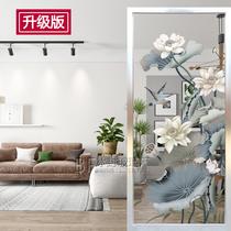 Chinois Art Verre Décoration porche cabinet couloir fond mur moderne minimaliste Écran partition double-face translucide Lotus