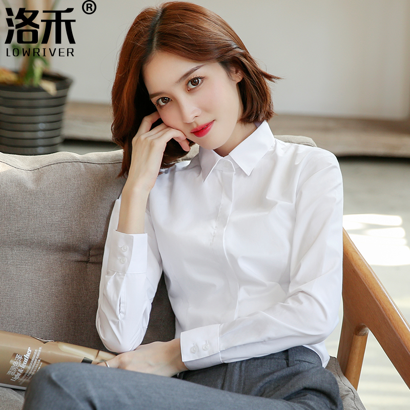 Luo Wo professional white shirt women long-sleeved spring item 2021 new temperament tooling workwear formal polo shirt