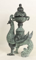 Bronze antique ornaments Bird Zunfeng smoked bird smoked stove Antique home decorations Vintage incense stove Phoenix ornaments