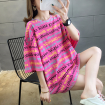 Maternity 2020 spring and Summer Super fire long section round neck letters printed short sleeve T-shirt womens summer wild top