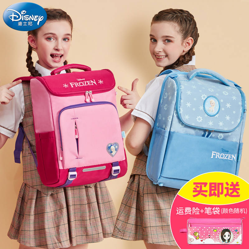 Disney's new Korean version of Ice, Snow and Qiyuan Girls'Third Grade Shoulder Bag for Portable Primary School Students
