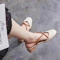 仙女韩版包头中跟学生复古粗跟凉鞋