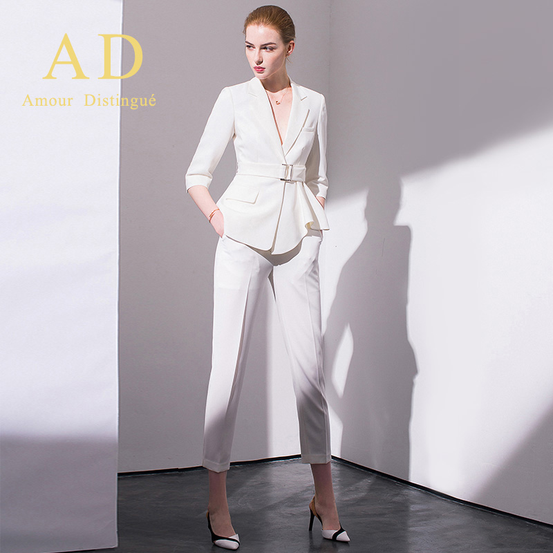 AD white fashion high-end suit womens autumn new workwear womens temperament goddess Fan zheng suit suit