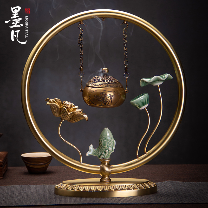 Mofan Household Indoor Pure Copper Incense Furnace Hanging Plate Incense Tower Incense Furnace Household Jewelry Zen Decoration Ornaments