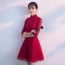 Autumn Wine red lace stand-up collar improved wedding dress