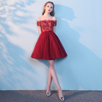 A shoulder spring fashion red dress