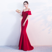 Red shoulder tail sexy show skinny toast dress