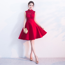 Red Summer show slim waist pregnant womens collar dress