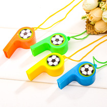 Sticker Soccer plastic Whistle Childrens toys color booster referee Whistle belt hanging rope factory Direct Sales