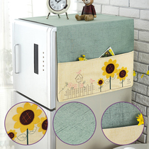 Cotton and linen refrigerator cover towel washing machine microwave cover cloth multi-purpose cover towel single door open door refrigerator dust cover