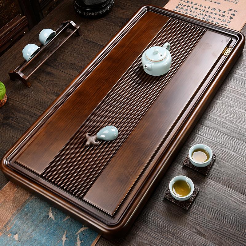 Bamboo tea plate whole piece simple tea sea home tea table kungfu tea set size tea tray living room retro thickening
