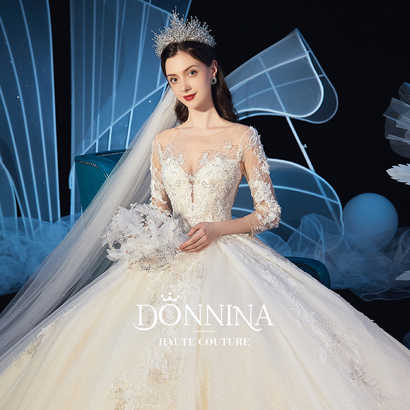 Starry sky main wedding dress 2019 new super fairy bridal dress long sleeve luxury tailed fantasy 2020