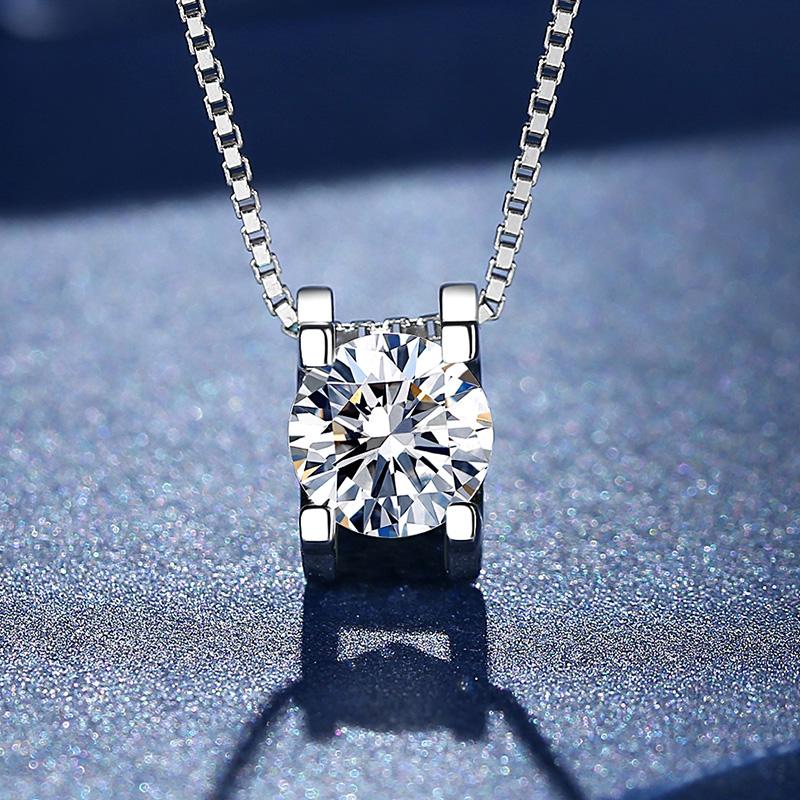 Semelos new Mossan stone necklace female niche design feeling collarbone chain pure silver simple temperament personality girl