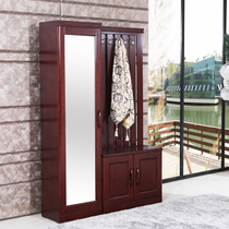 Entrance foyer Cabinet shoe cabinet wardrobe door closed cabinet modern Chinese solid wood shoe cabinet belt hanger integrated combination