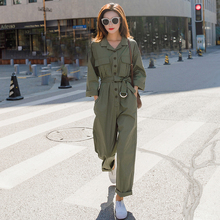 Girls in Army Green Workwear Loose BF Slender, High waist, Spring and Autumn 2019 New Cec Broad-legged Couplet Suit