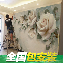 3D TV Background wall paper simple modern living room wallpaper movie Wall decoration 5d three-dimensional bump flower mural