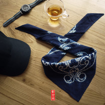 Yunnan Dali Handmade tie-dyeing cloth plant blue dyed triangle towel cotton men and women can be used as a headscarf scarf hair belt