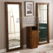 Retro Simple haircut mirror table solid wood hairdresser Mirror barber shop single-sided mirror table double floor mirror table