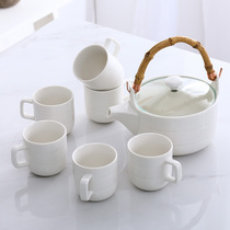 Ceramic Flower Tea cup set creative cold kettle cup with cool kettle Japanese tea set with bamboo plate