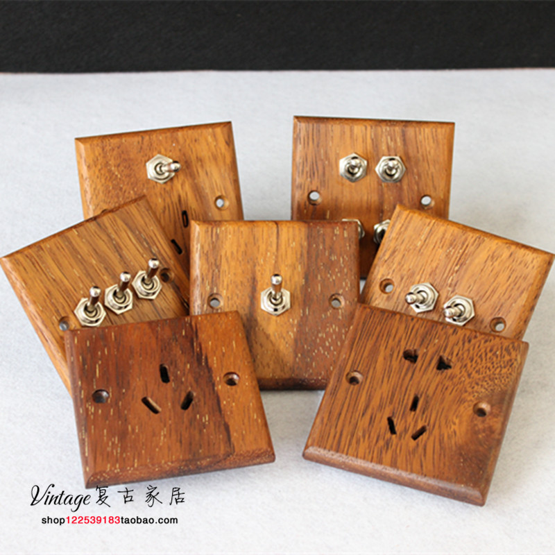 Personality Creativity of 86 Pineapple Lattice Solid Wood Switch Socket Panel Ancient Wall Wood Handicraft Jewelry
