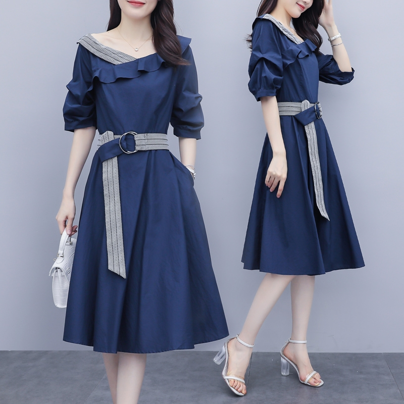2021 summer big size womens fat sister mm new cover belly to receive waist thin medium and long French dress tide