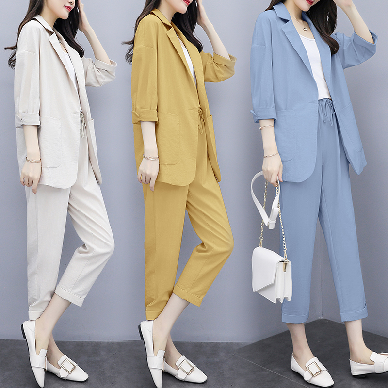 Fat sister show thin suit 2021 new spring dress big size womens wear down the age of fashionable two-piece set trend
