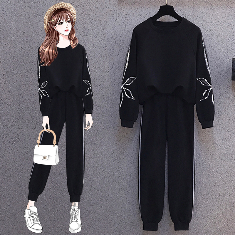 Small man with a high-quality suit 2021 spring dress new big size womens fat mm fashion thin belly cover two-piece set