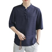 Chinese male Chinese Hanfu China flax short sleeved summer wind, T-shirt cotton loose retro size coat