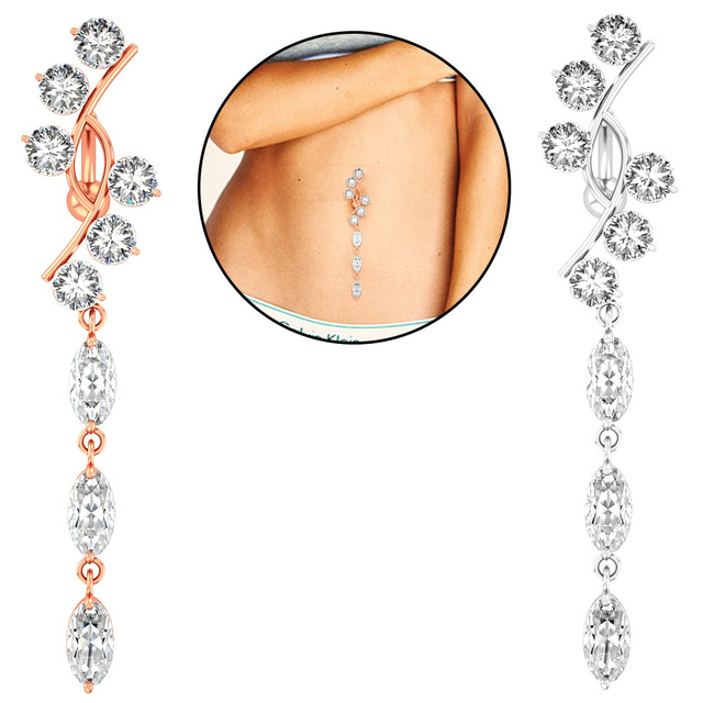 umbilical nail female European and American sexy personality gold medal seller high-quality puncture long version of the flash diamond pure silver navel ring waist trim