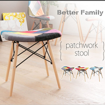 Eames Stool Makeup Beauty stool INS Nordic solid wood stool change shoe pedal hundred cloth soft bag stool simple stool