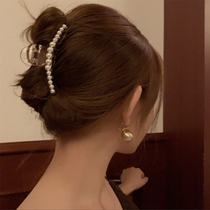 South Korea髮 pearls clip the head of the head 髮 the head of the large head the elegant temperament of the clip caught 髮 clip