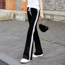 Pants female 2019 new summer slimming wild loose casual straight side stripes split black wide leg sweatpants