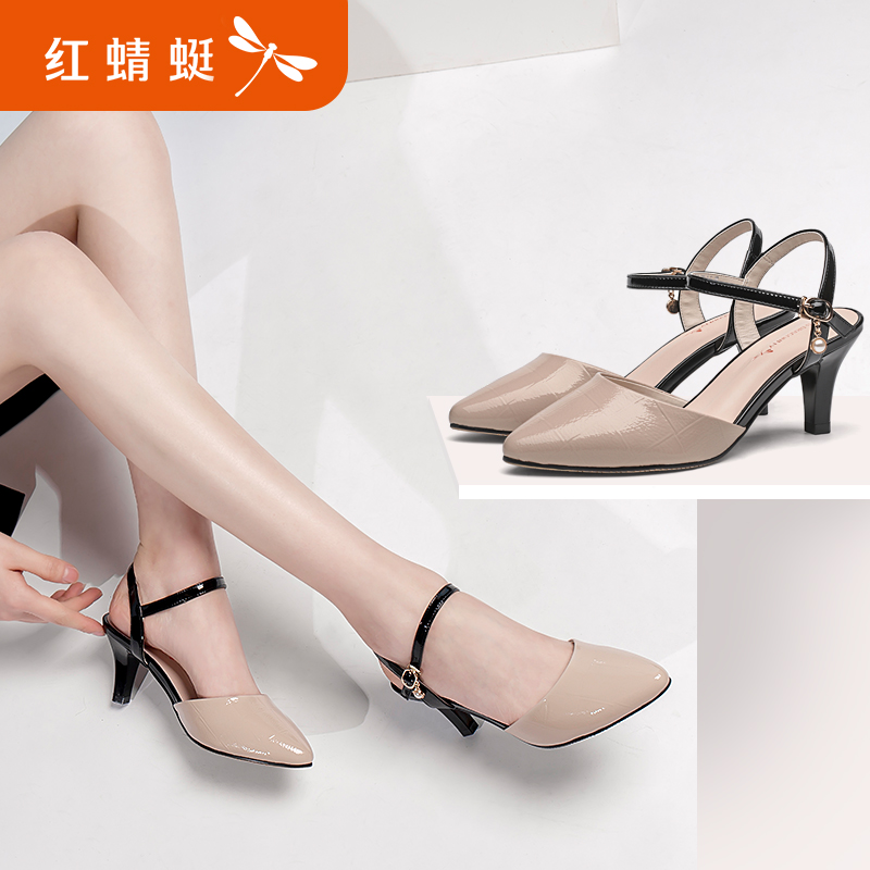 Red 蜻蜓 women's shoes 2018 spring new authentic fashion leather commute elegant stiletto hollow female shoes